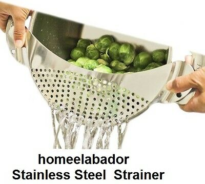 Stainless Steel Pan Drainer Strainer Colander Sieve Fit upto10 inch Pot UK SELLR
