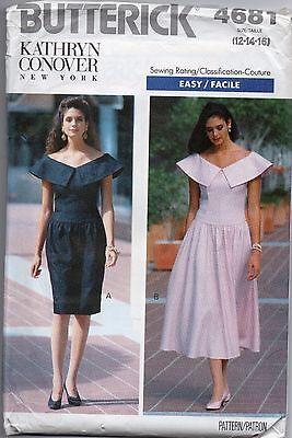 Vintage Sewing Pattern ~ RETRO FITTED DRESS PETITE  BUTTERICK 12 14 16 UNCUT