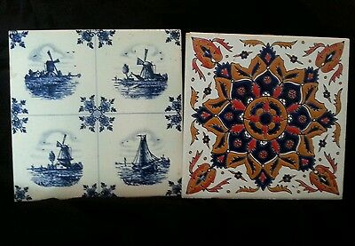 2 old vintage 6x6 tiles- Greece and Belgium