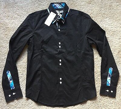 TOM'S WARE Men's Black Fashion Button Down Dress Shirt ~NWT~ Size Small