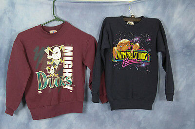 Vintage 90s Children's Sweatshirts Mighty Ducks Universal Studios ET Size 8