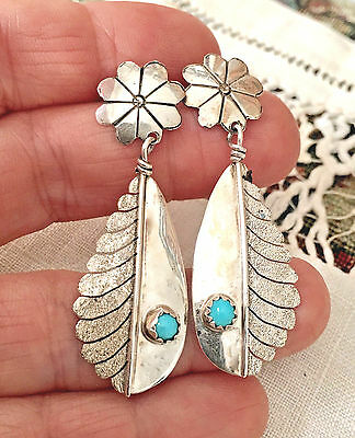 Vintage Sterling Silver Navajo Flower Concho & Feather Turquoise Drop Earrings