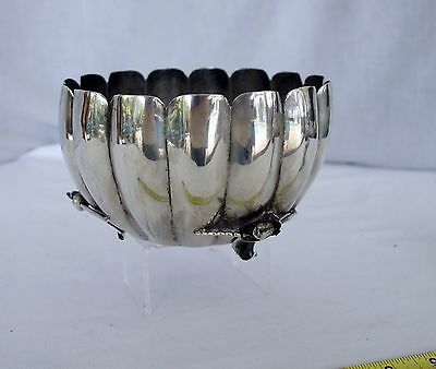 Vintage IMSA sterling silver Mexican calla lilly footed scalloped bowl mid cent