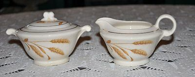 Vintage Edwin Knowles Gold Harvest Covered Sugar Bowl & Creamer pattern 2136