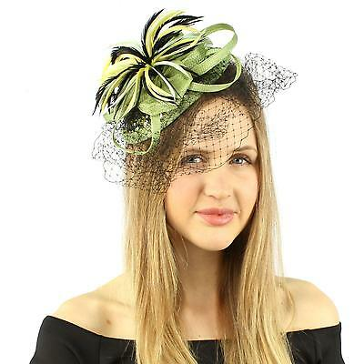 Fancy Sinamay Sequins Spray Feather Net Headband Fascinator Cocktail Hat Lime