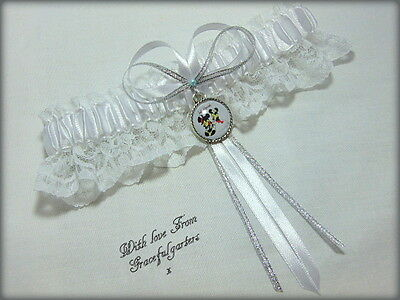 Minnie and Mickey Mouse White Disney Bridal themed Wedding Garter.