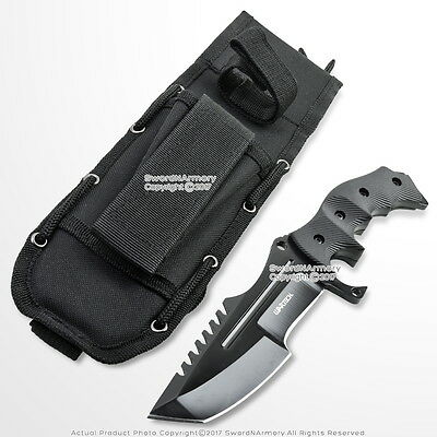 "10"" CS Go Huntsman Tactical Bowie Fixed Blade Knife with Black Blade and Pouch"