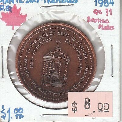 Pointe-Aux-Trembles Quebec Canada - Trade Dollar - 1984 Bronze Plate