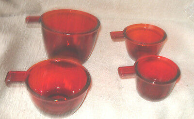 New Depression Style  Ruby Glass Four  Cup  Measuring Set 1=1/2=1/3=1/4 Cups