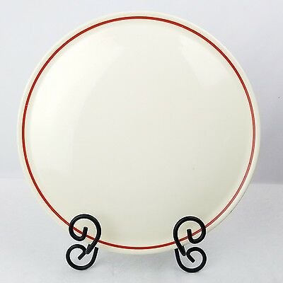 """Universal Potteries White Cake Plate Red Band Ring 11 5/8"""" Ovenproof USA"""