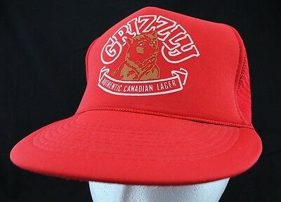 Vintage Grizzly Authentic Canadian Lager Beer Red Snapback Trucker Hat Cap Lid