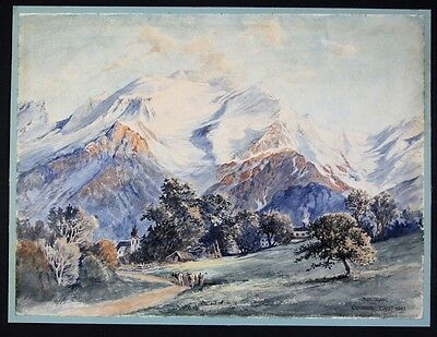 1907 Carl Just Montblanc Mont Blanc Aquarell signiert drawing painting Monte