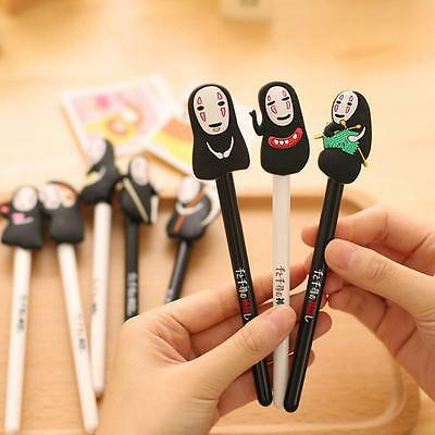 2x Spirited Away Cute Cartoon No Face Faceless Black Gel Ink Ballpoint Pen Gift