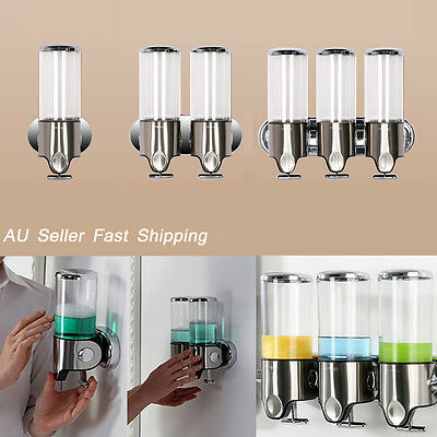 AU Bathroom Kitchen Wall Soap Dispenser Liquid Lotion Bottle Shampoo Shower