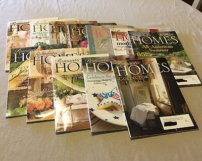 LOT Of 12 Romantic Homes Magazine Back Issues 2007 & 2008