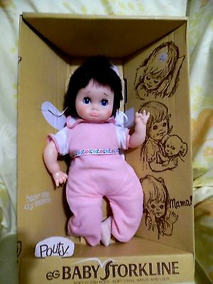 Vintage EG Pouty Baby Doll,Baby Storkline, Cries, Original Clothes,Orig Box,RARE