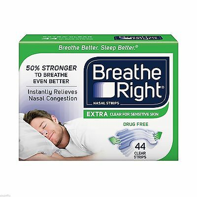 Breathe Right Nasal Strips, Extra Clear 44 Strips Per Box