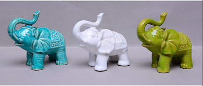 Miniature Ceramic 3 Piece Set Decorative Elephant Figurines - Blue/Green/White
