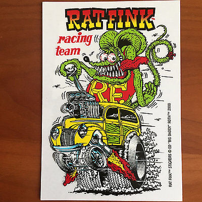 RAT FINK Racing Team Decal STICKER Ed Roth GASSER Anglia DRAG Racing 32 FORD VW