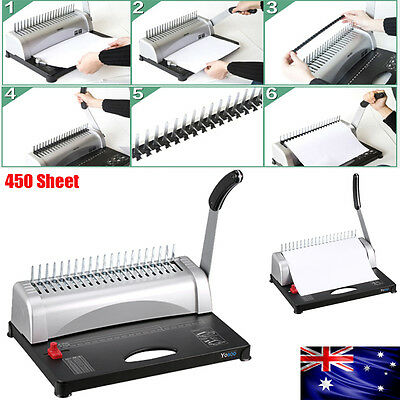 Pro Paper Office Home Comb Binding Machine 21 Hole Plastic Coil Punch Binder AU