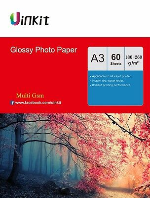 A3 180-260 Gsm High Glossy Photo Paper Inkjet Paper Printer 60 sheets  Uinkit