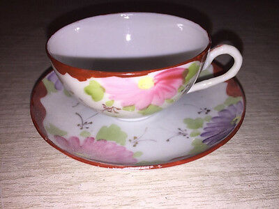 Vintage Small Tea Cup And  Saucer Hand Painted