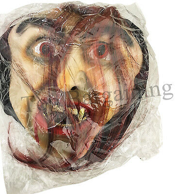 Scary Vampire Face Zombie Mask with Blood Tooth Hair Halloween Horror Dress UK