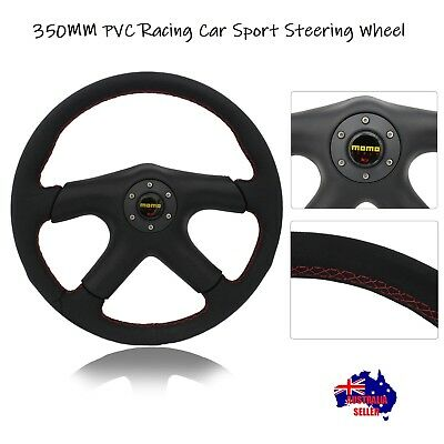 NEW 8933 350mm Leather Racing Car Sport Steering Wheel with Horn Button