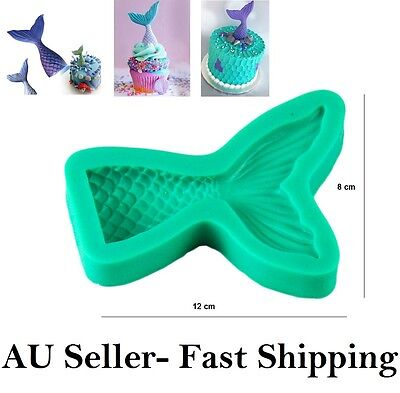 3D Mermaid Fish Tail Scale Fairy Silicone Fondant Gumpaste Mould Mold Sugarcraft