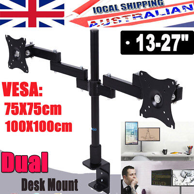 Dual HD LED Desk Mount Monitor TV Stand Bracket 2 Arm Holds Two LCD Screen TOP