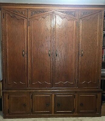 Hand carved English oak armoire. 19th century