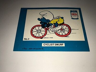 VINTAGE 1980 80s THE SMURFS CYCLIST PEYO BP AUSTRALIA NESTLE IDEAL RARE STICKER
