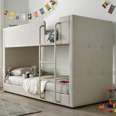 Happy Beds Saturn Bunk Bed Oatmeal Fabric Kids Bedroom Furniture Mattress New