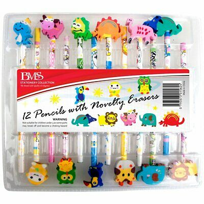 12 Pencils With Novelty Erasers Educational Toys Books