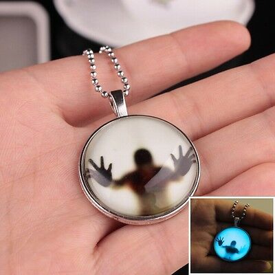 Unisex Luminous Pendant Steampunk Jewelry Glow In The Dark Halloween Necklace