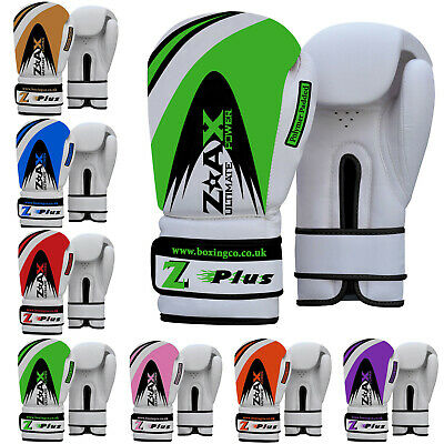 Leather Gel Boxing Gloves Sparring Punch Bag Training Pads Junior & Adults