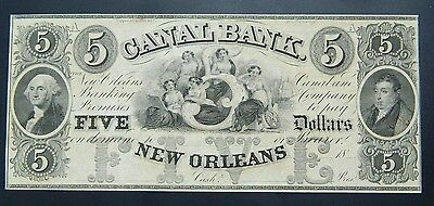 Canal Bank New Orleans 5 Dollars  Unc -