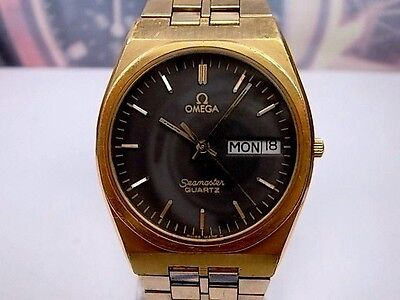 Reloj Omega Seamaster Caballero Gold Plated Quartz Men's Watch, Black
