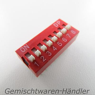 1x Dip Encoder Switch Standing Print 8 Pin Compartment Mini Coding Knitter Red