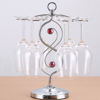 Iron Wine Glass Rack Cup Drying Holder Tumblers Storage Shelf Table Glass Hanger