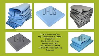 "60"" x 20"" upholstery foam sheets select thickness ¼"" ½"" 1"" 2"" 3"" 4"" 5"" 6"""