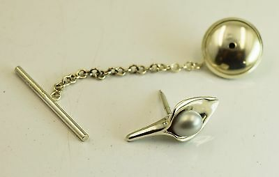 Amanda Cox lily design sterling silver tie pin with grey pearl. Was £63