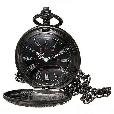 Vintage Orologio da tasca Taschino Steampunk Quarzo Collana Pocket Watch Nero