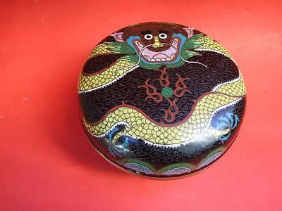 Antique Chinese Cloisonné Lidded Bowl with Dragon Design C1920 Rare !