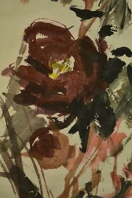 Hanging Scroll Japanese Painting Peony Asian Fine Art ink Antique Picture y73