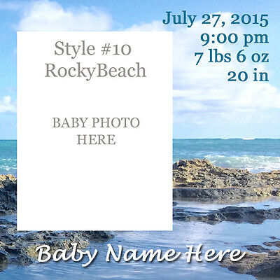 6 Personalized Photo Birth Announcements in Square Acrylic Refrigerator Magnet