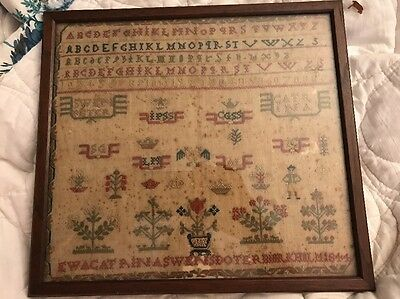 Antique Swedish Sweden Needlework Sampler  Catrina Swensdoter 1844 W/ Lineage