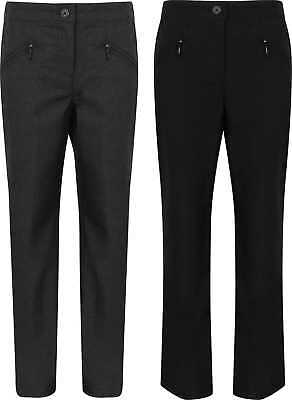 Girls School Trousers Ex BHS Black Charcoal New Size 4-12 Years Childrens Zip