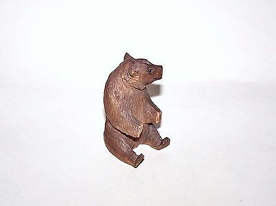 Antique Small Black Forest, Hand Carved Wooden Bear, 2.5""