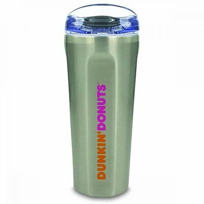 New DUNKIN DONUTS Stainless Steel 20oz quad Coffee Tumbler NWT 2017